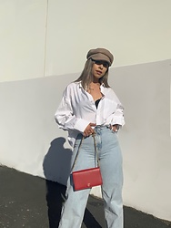 Kimberly Macias - Zara Wide Leg Jeans, H&M White Collared Top, Target Captain Hat - Captain keeping it casual chic