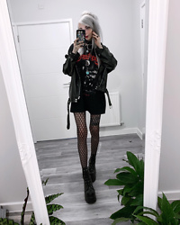 Kimi Peri - Patterned Tights, Demonia Camel Platform Boots, Disturbia Ring Choker, Mary Wyatt London The Legion Tee, Unzzy Leather Jacket - In London 🖤❤️