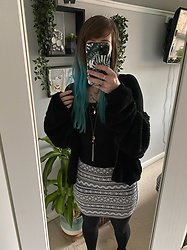 Space Coyote - Pull & Bear Fluffy Black Jacket, H&M Aztec Pattern Skirt, Urban Outfitters Black Body Suit, Accessorize Necklaces - Take Me As You Please