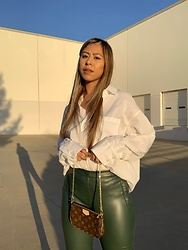 Kimberly Macias - H&M White Collared Top, Zara Faux Leather Pants - Feeling festive 🎄