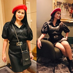 Janeth Javier - Love Moschino Purse, Guess Belt, Vero Moda Blouse - Black leather dress