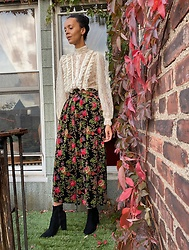 Luna Nova - Vintage Lace Blouse, Vintage Velvet Floral Skirt - Thought I knew you
