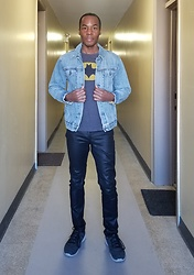 Thomas G - Ny&C Satin Finish Coated, Skechers Skech Knit, Old Navy Batman, Gap 1969 Denim Jean Jacket - Denim jacket | Satin finish jeans