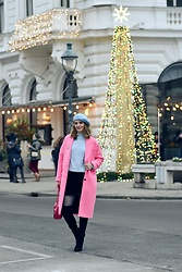 Butterfly Petty - Michael Kors Bag, Zara Coat, Morgan Skirt, Lazzarini Boots - Pink and baby blue