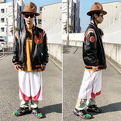 @KiD - Vivienne Westwood Mountain Hat, Buttstain Tee, Vintage Leather Stadium Jacket, Typhoon Mart Sunglasses, Adidas Raf Simons - JapaneseTrash617