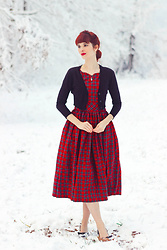Bleu Avenue - Modcloth Fabulous Fit And Flare Dress Plaid, Mak Dream Of The Crop Cardigan - Snow Days