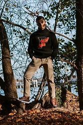 Kevin Elezaj - Converse Sneakers, Uniqlo Pants, Ralph Lauren Sweater - In the woods