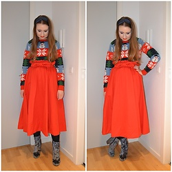 Mucha Lucha - Vila Jumper, H&M Skirt, Asos Boots - Bright orangy-red