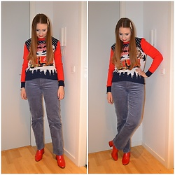 Mucha Lucha - H&M Jumper, Weekday Trousers, Even&Odd Boots - More festive red and blue