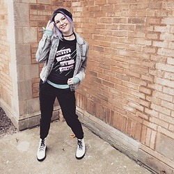 Lyndee M. - American Eagle Knit Headband, American Eagle Grey Jean Jacket, Cinderblock Band Tee, Aerie Long Sleeve Tee, American Eagle Joggers, Dolce Vita Boots - & nothing else matters when I turn it up loud