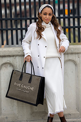 Lauren Recchia - Namjosh Headband, Saint Laurent Tote Bag, Slip Skirt, White Coat, White Turtleneck, Boots - Winter in White