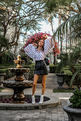 Jenny M - Femmeluxe Blouse, H&M Leather Skirt, Aldo Boots - IG @thehungarianbrunette - Polka dot in Wonderland
