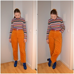 Mucha Lucha - Monki Roll Neck Top, Second Hand Belt, Monki Trousers, Monki Boots - Dark yellow and blue