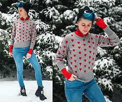 Carolyn W - Killstar Moon, Femme Luxe Finery Red Bodysuit, White + Warren Hearts, Blue, Harley Davidson Thrifted - Red Hearts