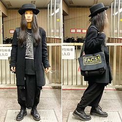 @KiD - Vivienne Westwood Johnble Hat, Joy Division Unknown Pleasures, Ch. Coat, Hacienda Bag, Monochrome Penguin Pants, Dr. Martens Unknown Pleasures - JapaneseTrash618