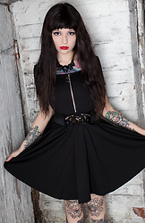 Rachel - Punkrave Black Dress, Kreepsville 666 Bat Belt, Kreepsville 666 Skull Necklace - Bats and skulls