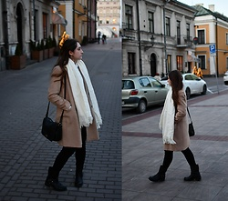 Natalia K - Reserved Coat, Cubus Black Pants - Camel coat