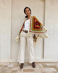 Luna Nova - Vintage Crochet Cape, Vintage Flare Pants - Come on home