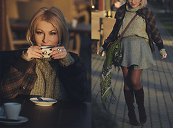 Anca Varsandan - C&A Jumper, Sergio Rossi Boots, H&M Scarf, H&M Jacket, Banana Republic Earrings - Coffee Lover