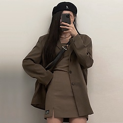 Una - Running High Kr Strapless Dress, Lieu Homme Seoul Blazer, Kangol 504, Bottega Veneta Padded Cassette Bag - Chocolate OOTD