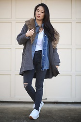 Kimberly Kong - Red Dress Boutique Distressed Jean Jacket - How-To Layer Clothing: Easy Tips for the Everyday Girl