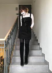 Hypersensitive M. - Thrifted Black Suede Dress, Thrifted White Cotton Rollneck, Thrifted Black Overknee Boots, Local Mineral Store Chains - Sheridan's coffee layered liqueur