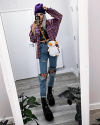 Kimi Peri - Romwe Purple Plaid Boyfriend Shirt, Romwe Galaxy Top, Purple Beanie, Romwe Ripped High Waisted Jeans, Disturbia Fishnet Tights, Platform Boots, Romwe Fluffy Sheep Bag - Sheep Cuddles 🐑💕
