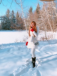 Shelly G - Marciano White Coat, Aldo Red Gloves, Black Boots - Snow Queen