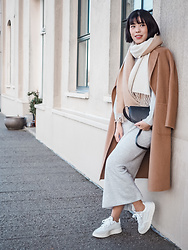 Vivian Tse - The Curated Coat, Arket Scarf, Wandler Bag, Mango Dress, Adidas Trainers - Winter 2021