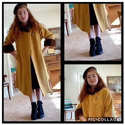 Jack Pal - Russ Russell Hat, Forever 21 Black Boot Heels, Firmoo Round Glasses, Thrift Store Mustard Dress Coat - Vintage tea time