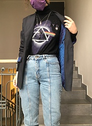 Hypersensitive M. - Thrifted Pink Floyd Sleeveless Tee, Thrifted Jacket With Holographic Inside, Thrifted Ragged Jeans, Thrifted Black Cotton Rollneck - Purple moscow mule