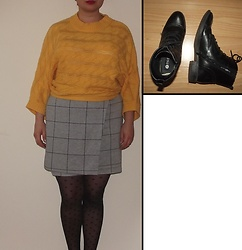 Selina - Oliver Bonas Batwing Sleeve Jumper, Vinted Checked Skirt, Prettypollytights Heart Print Tights - Nothing ever yet
