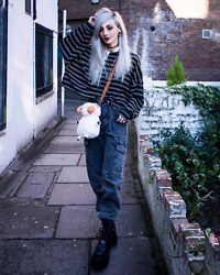Kimi Peri - Romwe Fluffy Sheep Bag, Romwe Pocket Denim Trousers, Platform Boots, Romwe Striped Collar Sweatshirt, No Face Choker - Let's Sheep It Real 🐑💕