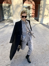 Anna Borisovna - Zara Coat, Inwear Blouse, Inwear Pants, Massimo Dutti Boots, Bottega Veneta Sunglasses - The Leather Suit
