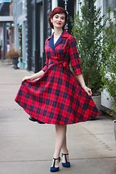 Bleu Avenue - Dresslily Plaid Lapel Rolled Sleeve Surplice Bowknot Dress - Dresslily Plaid Dress