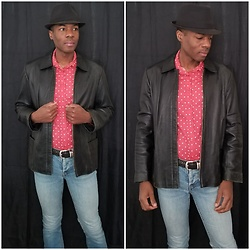 Thomas G - Faded Glory Fedora, Lc Lauren Conrad Polka Dotted Blouse, Nyc & Company Leather Jacket, Levi's 547 Strauss & Co - Fedora | Leather jacket | Jeans