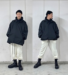 ★masaki★ - Asos Beanie, Collusion Oversized Coach Jacket, H&M Jogger, Bershka Chunkysole Boots - Black & White