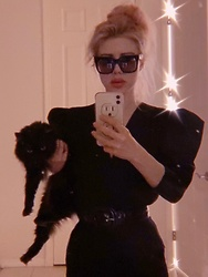 Emmalynn V - Zeynep Arcay Bodysuit, Asos High Waisted Cigarette Pants, Céline Celine Angular Sunglasses - Dark Wave with Black Cat