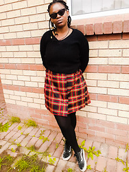 Enathi Sitonga - Vans Sneakers, Sweater, Thrift Skirt - Punky checkered thrift