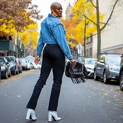 Chamique Francis - Forever 21 Denim Cropped Jacket, Zara Black High Waisted Jeans, Forever 21 White Boot, Ch0ked Tassel Earrings - Denim on Denim