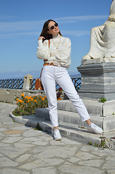 Tamara Bellis - Zara Sweater, Pull & Bear White Denim Pants, Pull & Bear Platform Sneakers - Each New Day is a Blessing