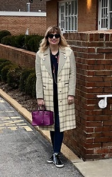 Shannon D - Tanya Taylor Cashmere Coat, Golden Goose Sneakers, Splendid Top, Elisabeth Bell Jewelry Heart Necklace, Hermès Bag, Chan Luu Long Necklace - Winter Saturday