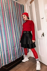 Weronika Bukowczan - Red Knitted Jumper, Mini Faux Leather Black Skirt, Zara Knee Length Pleated Black Faux Leather Skirt, Vintage Leather Belt, White Chunky Sneakers, Red Beenie Hat - IG: @vintageshadeson