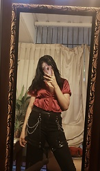Sarah - Shein Satin Blouse, Shein High Waisted Black Jeans, Aliexpress Harness - Cherries