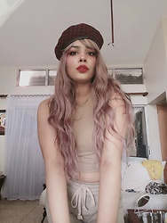 Sarah - Aliexpress Pinkish Wig, Aliexpress Square Beret, Shein Nude Crop Top - Pink Princess