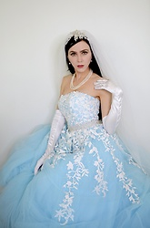 Caitlin - Amazon Cathedral Length Veil, Vintage Pearl Drop Earrings, Vintage 3 Strand Pearl Necklace, Amazon Opera Length Gloves, Sherri Hill White Appliqué Tulle Ballgown - Cinderella