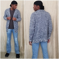 Thomas G - Durag, Old Navy Button Down Sweater Cardigan, Truth, Substance & Common Sense V Neck Shirt, Vigoss Bootcut Jeans, Skechers Skech Knit - Durag | Cardigan | Jeans