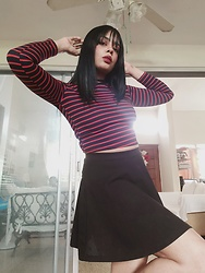 Sarah - Shein Black Skirt, Aliexpress Lineal Sweater - Sailor