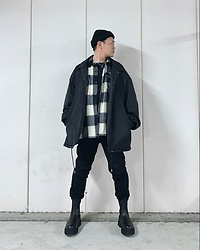 ★masaki★ - Asos Beanie, Collusion Oversized Coachjacket, Zara Shacket, Neuwdenim Jeans, Bershka Chunky Sole Chelsea - Little White