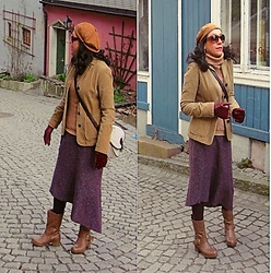 Nikolatina - Benetton Ginger Corduroy Jacket, Kate Spade Asymmetrical Tweed Skirt:, Express Camel Wool Turtleneck, Spiral Camel Ankle Boots, Tardan Suede Newsboy Cap, Dooney & Bourke White Crossbody Bag - Old city, fresh eyes